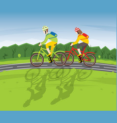 Man and woman ride on bicycle on a country road vector