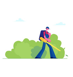 Man janitor in uniform with big backpack blowing vector