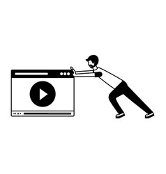 man pushing website video player vector image