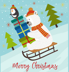 Merry christmas card with polar bear vector