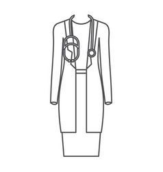 Monochrome silhouette of female doctor clothing vector