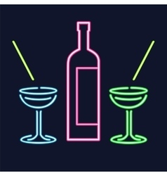 Neon cocktail glasses and bottle vector image