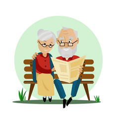 Old couple sitting on a bench in the park vector