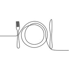 one continuous line plate khife and fork vector image