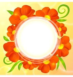 Orange realistic flowers round background vector image