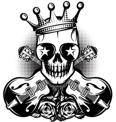 Pattern with guitar skull crown for concert vector