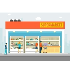 People in supermarket Shop interior for marketing vector