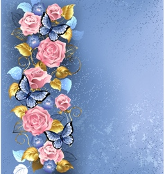 Pink Roses and Butterflies vector