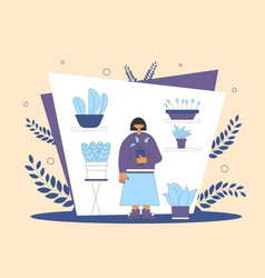 Plant lover man with indor flower pot vector
