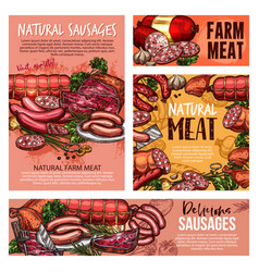 Pork and beef meat sausages ham salami bacon vector