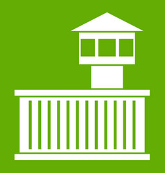 prison tower icon green vector image
