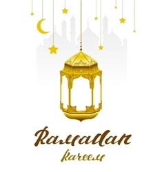 Ramadan Kareem Lettering text for greeting card vector image