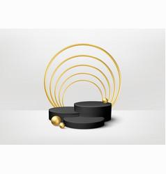 realistic 3d black product podium showcase vector image