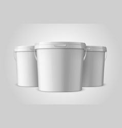 Realistic 3d white plastic bucket set for vector