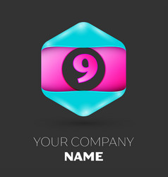 Realistic number nine symbol in colorful hexagonal vector
