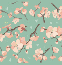 seamless spring flowers on tree branch pattern vector image