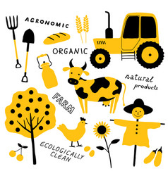 set agricultural and farm tools animals vector image