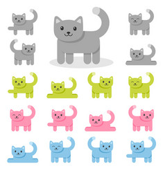 set colorful cat icons isolated on white vector image