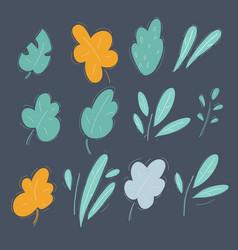 set green leaves and plans design element vector image