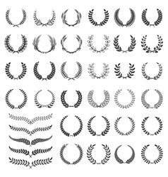 set laurel wreath icons design element vector image
