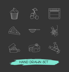 Set of pastry icons line style symbols with vector