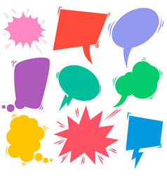 set retro comic empty colored speech bubbles vector image