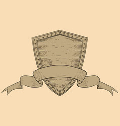 shield with blank ribbon banner on beige vector image
