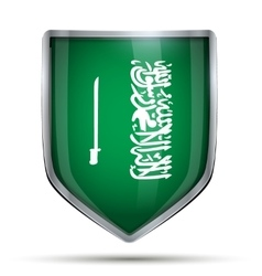 Shield with flag Saudi Arabia and ribbon vector
