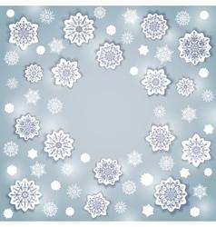 Snowflake round frame vector