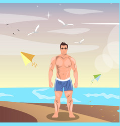sporty young man on beach vector image vector image