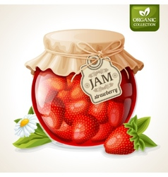 Strawberry jam in glass vector