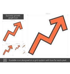 Success growth chart line icon vector image