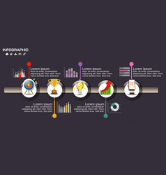 timeline infographic chart with many color design vector image