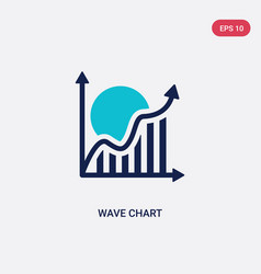 two color wave chart icon from business and vector image