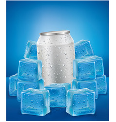 White aluminum tin cans in ice cubes vector