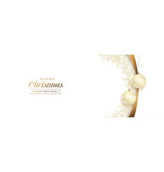 white and golden merry christmas banner with ball vector image