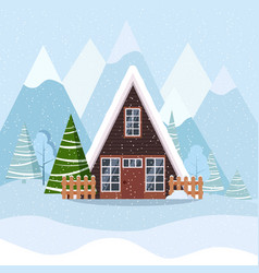 Winter landscape with a frame country house in the vector