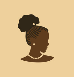 young beauty african girl face in profile with vector image