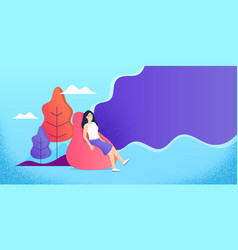 Young woman relaxing in bean bag freelance vector