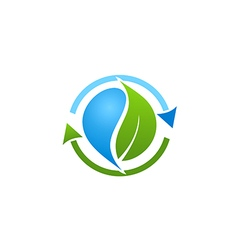 bio recycle green leaf logo vector image vector image