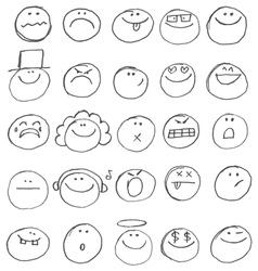 emoticon doodles vector image vector image
