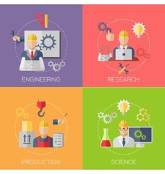 Engineer construction manufacturing workers with vector image