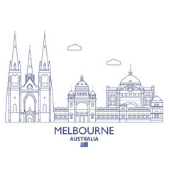 melbourne city skyline vector image