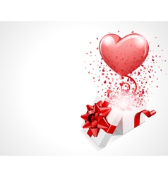 open gift present box with fly hearts and balloon vector image vector image
