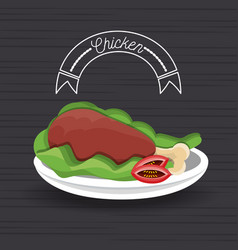 delicious roasted chicken thigh menu restaurant vector image