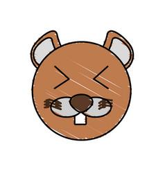 Drawing beaver face animal vector