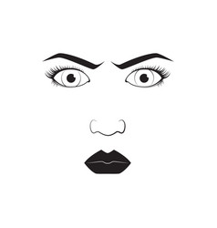 girl emotion face angry cartoon vector image vector image