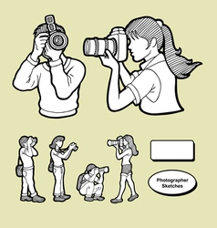 Photographer icons sketch vector