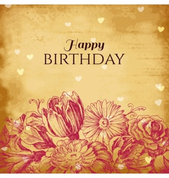Vintage floral background birthday card vector image vector image