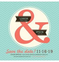 Ampersand wedding invitation chevron background vector